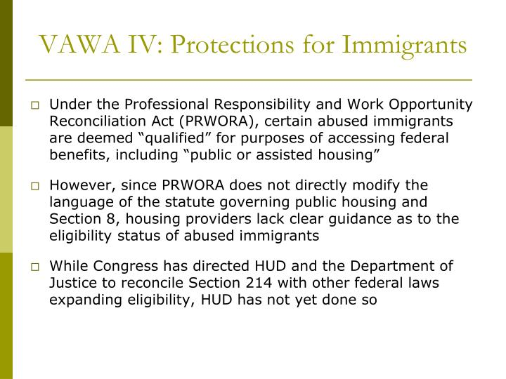 VAWA IV: Protections for Immigrants
