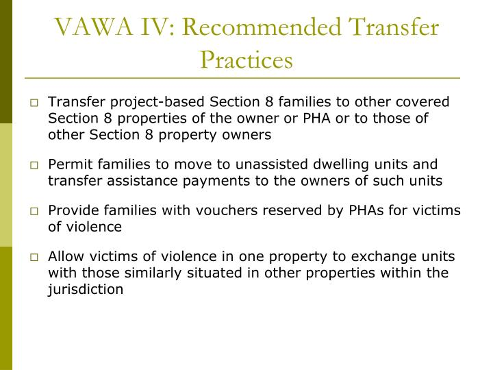 VAWA IV: Recommended Transfer Practices