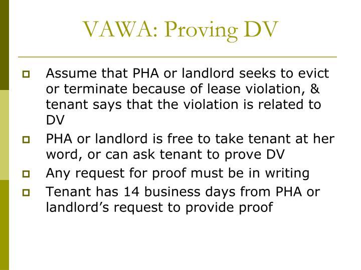 VAWA: Proving DV