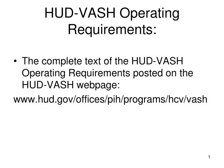 Hud vash operating requirements