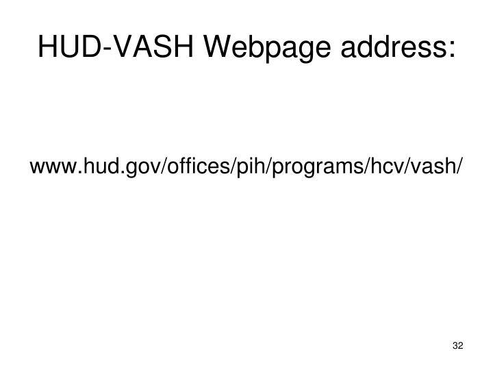 HUD-VASH Webpage address: