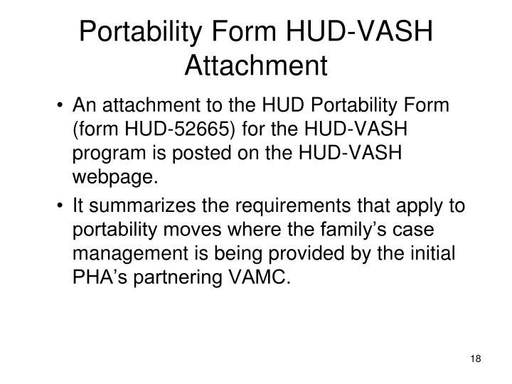 Portability Form HUD-VASH Attachment