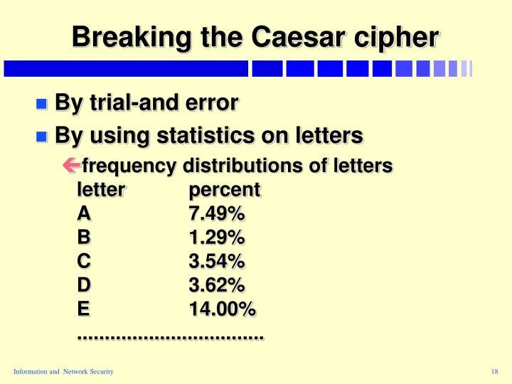 Breaking the Caesar cipher