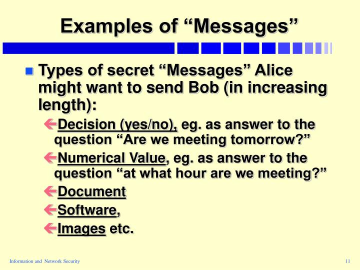 """Examples of """"Messages"""""""