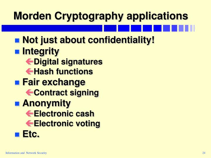 Morden Cryptography applications