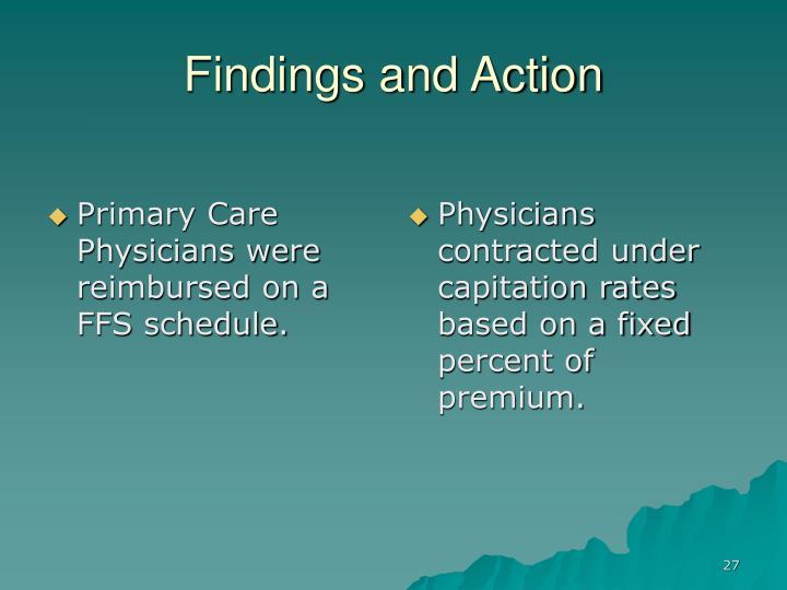 Primary Care Physicians were reimbursed on a FFS schedule.