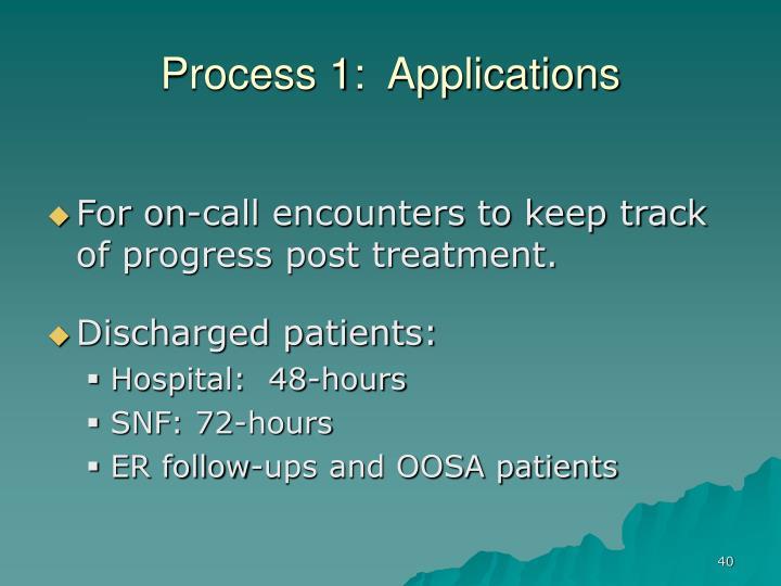 Process 1:  Applications