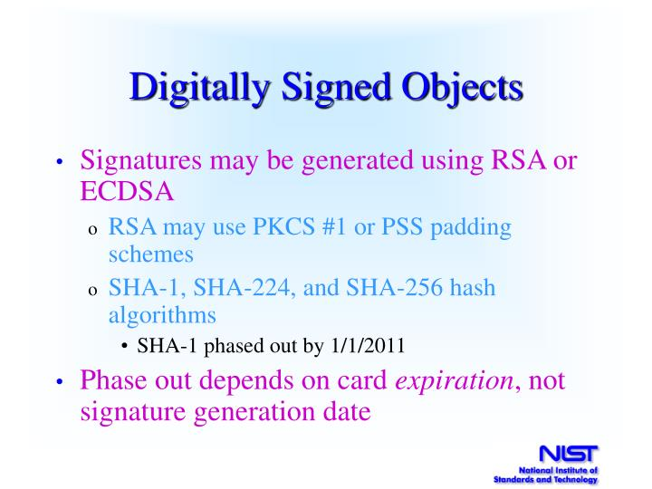 Digitally Signed Objects