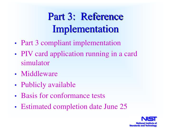 Part 3:  Reference Implementation