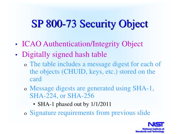 SP 800-73 Security Object