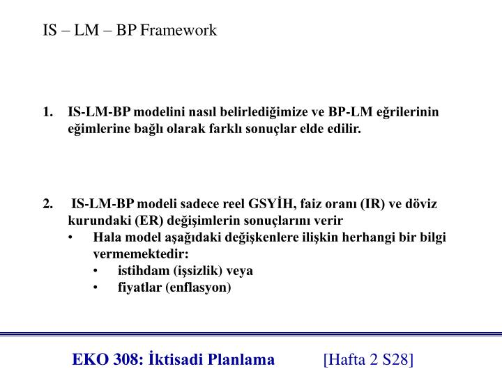 IS – LM – BP Framework