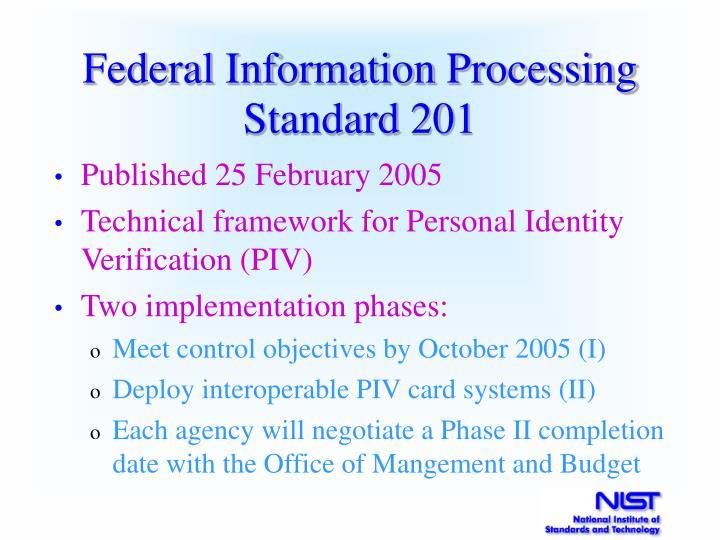 Federal Information Processing Standard 201