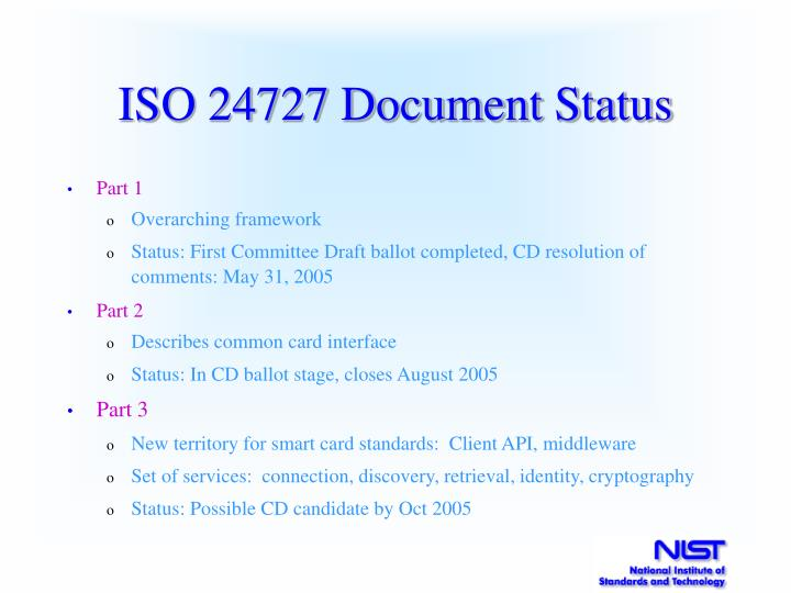 ISO 24727 Document Status