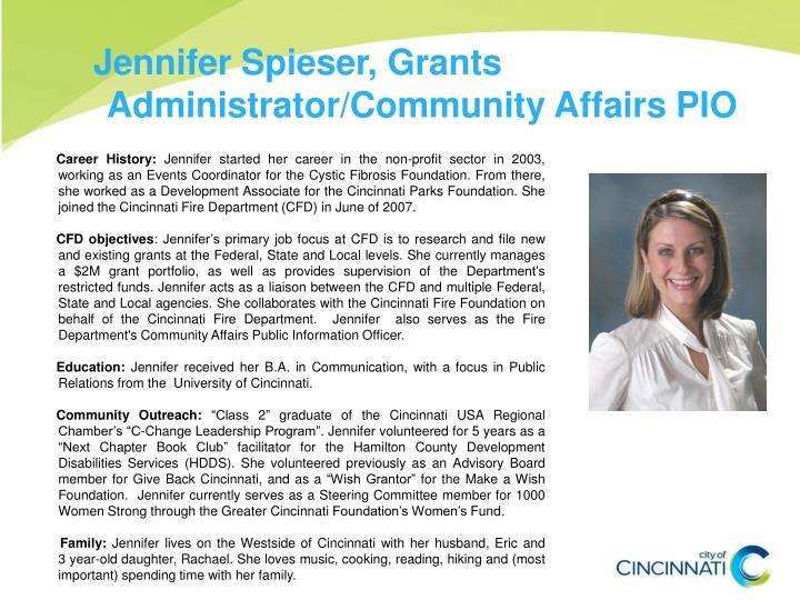 Jennifer Spieser, Grants Administrator/Community Affairs PIO