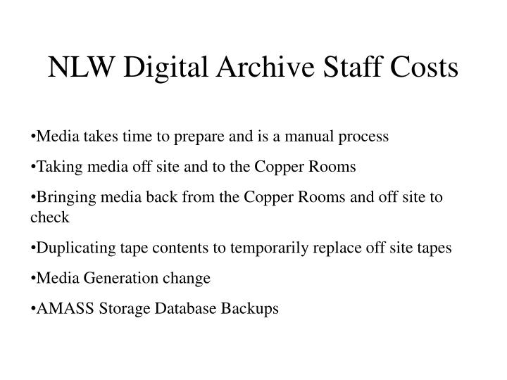 NLW Digital Archive Staff Costs
