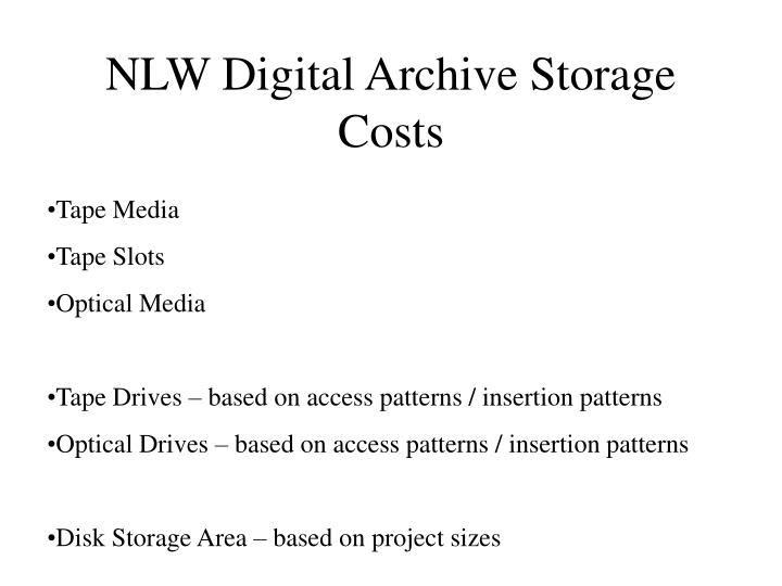 NLW Digital Archive Storage Costs