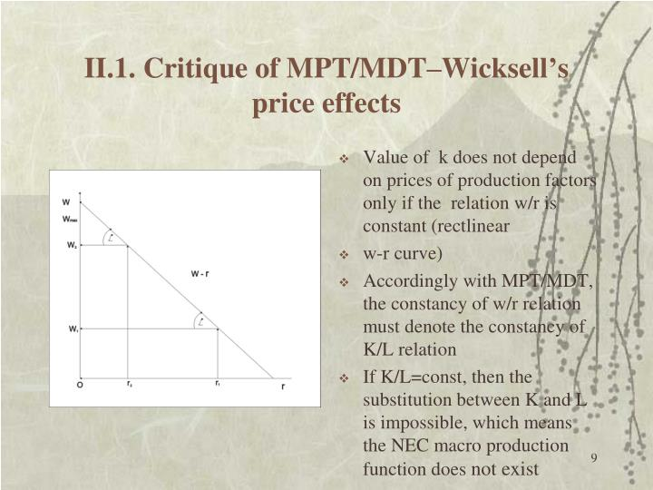 II.1. Critique of MPT/MDT–Wicksell's price effects