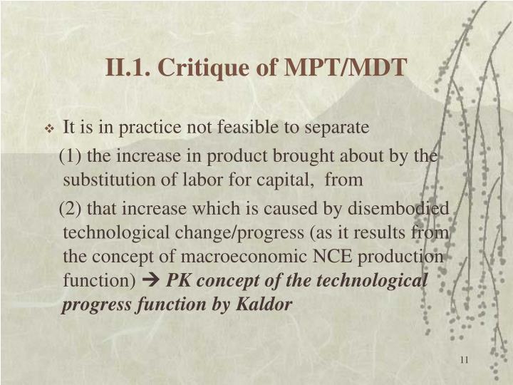 II.1. Critique of MPT/MDT