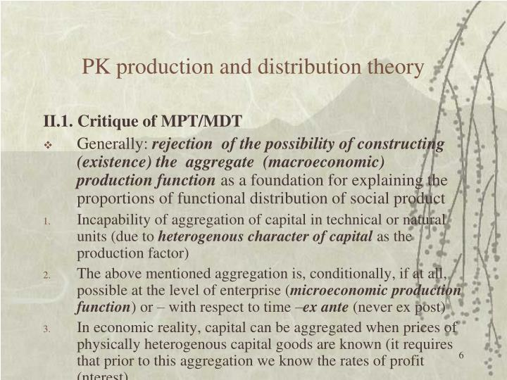 PK production and distribution theory