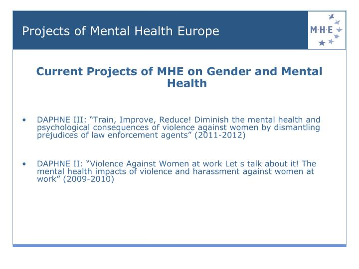 Current Projects of MHE on Gender and Mental