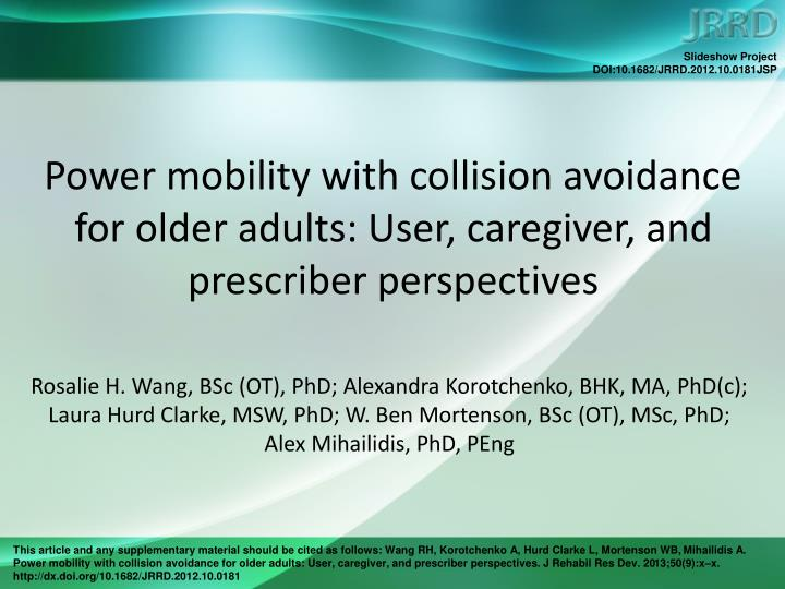 Power mobility with collision avoidance for older adults user caregiver and prescriber perspectives