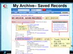 my archive saved records