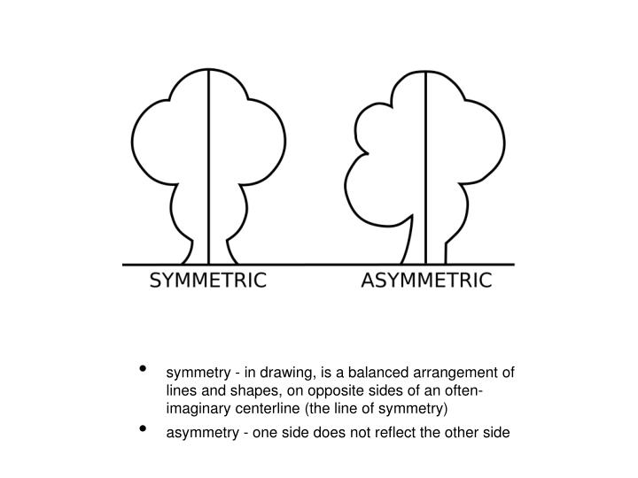 symmetry - in drawing, is a balanced arrangement of lines and shapes, on opposite sides of an often-imaginary centerline (the line of symmetry)