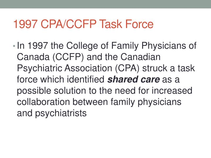 1997 CPA/CCFP Task Force