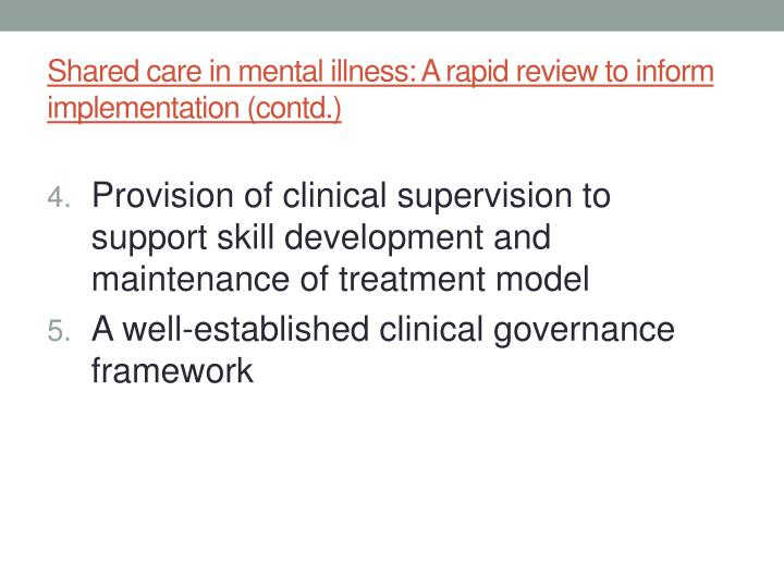 Shared care in mental illness: A rapid review to inform implementation (contd.)