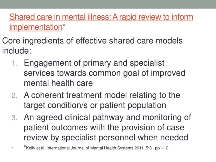 Shared care in mental illness: A rapid review to inform implementation