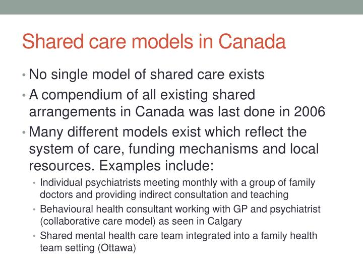 Shared care models in Canada