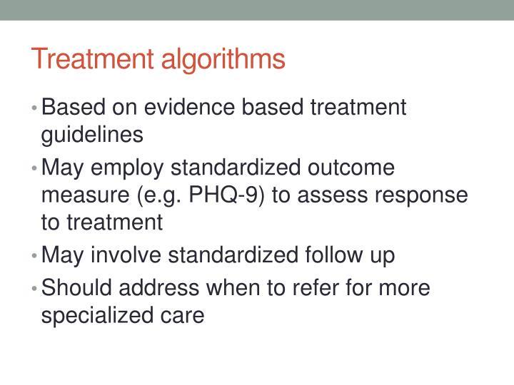 Treatment algorithms