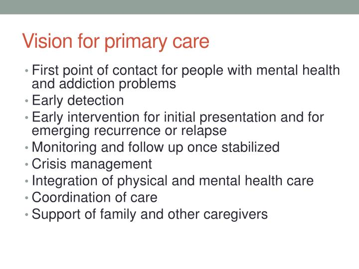 Vision for primary care