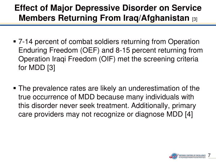 Effect of Major Depressive Disorder on Service Members Returning From Iraq/Afghanistan