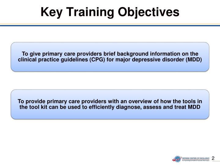 Key training objectives