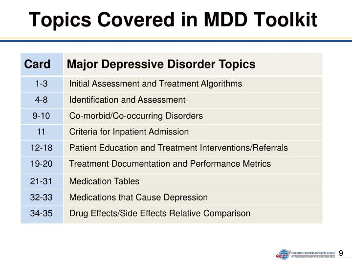 Topics Covered in MDD Toolkit