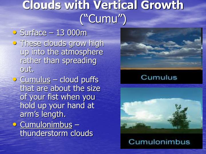 Clouds with Vertical Growth