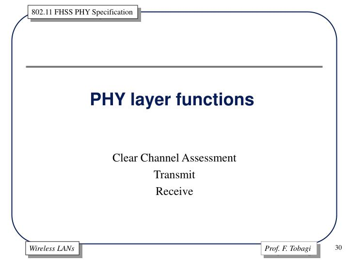 PHY layer functions