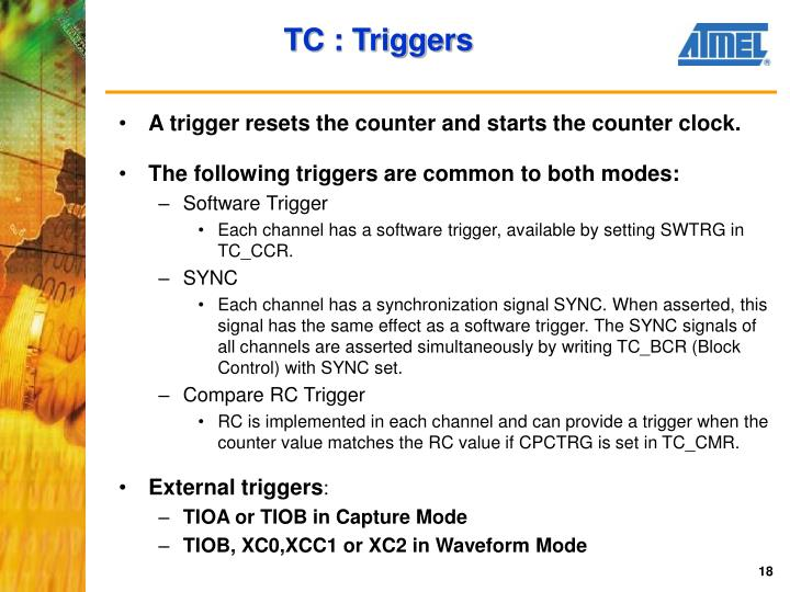 A trigger resets the counter and starts the counter clock.