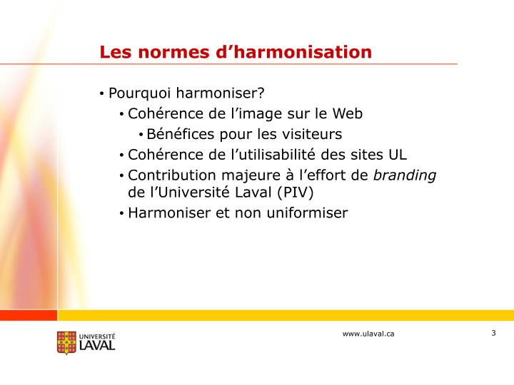 Les normes d harmonisation