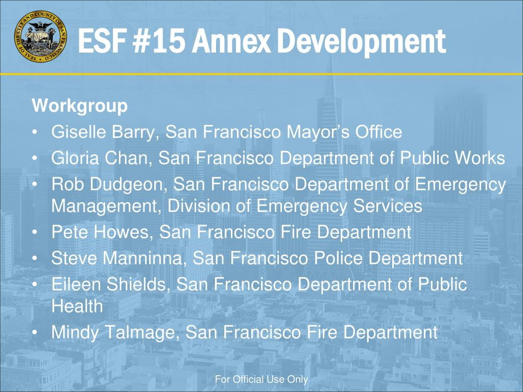 PPT - City and County of San Francisco ESF #15 Annex: Joint