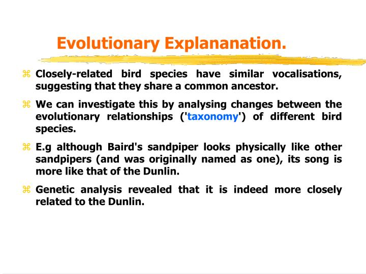 Evolutionary Explananation.