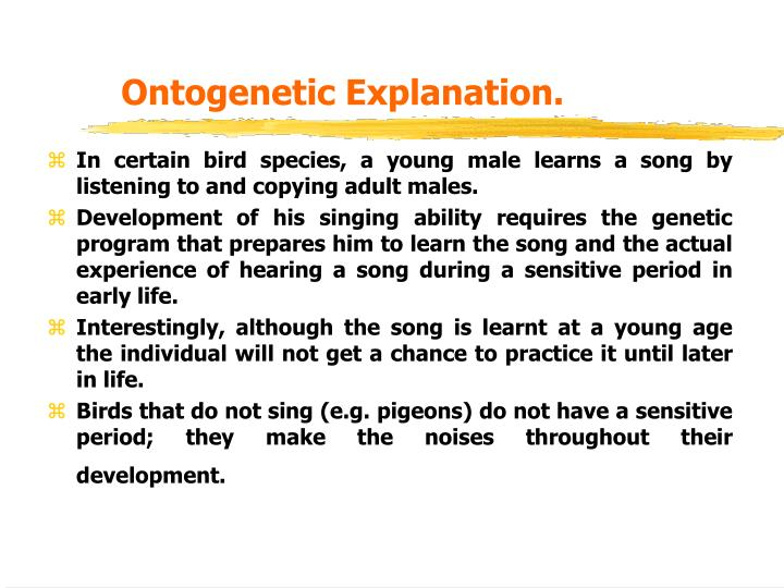 Ontogenetic Explanation.