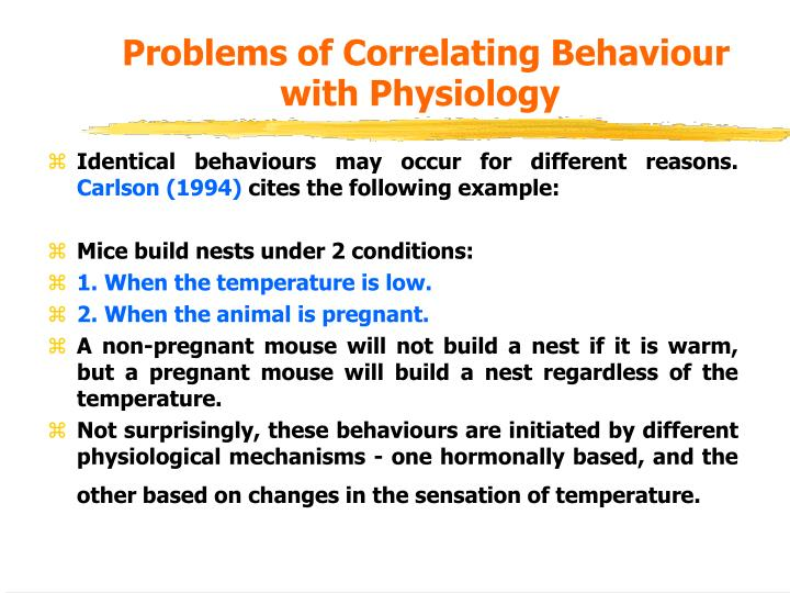 Problems of Correlating Behaviour