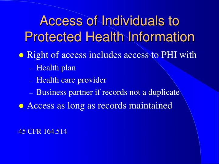 Access of Individuals to Protected Health Information