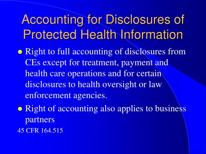 Accounting for Disclosures of Protected Health Information