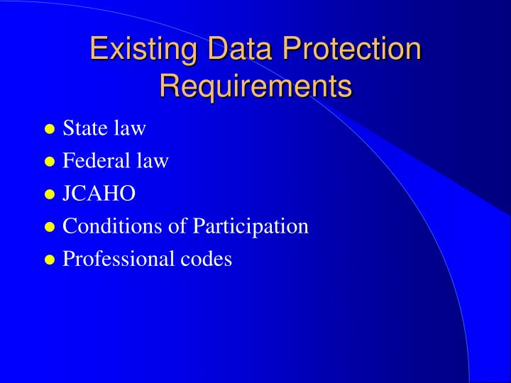 Existing data protection requirements
