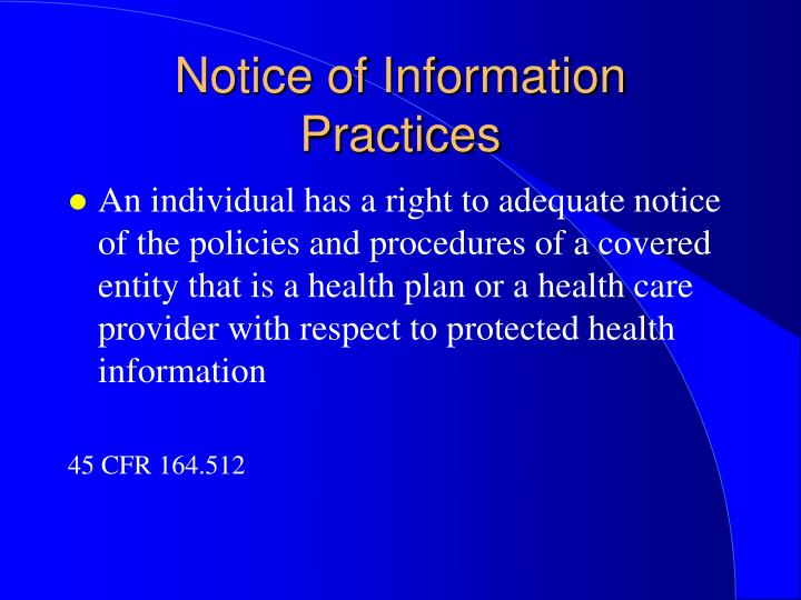 Notice of Information Practices