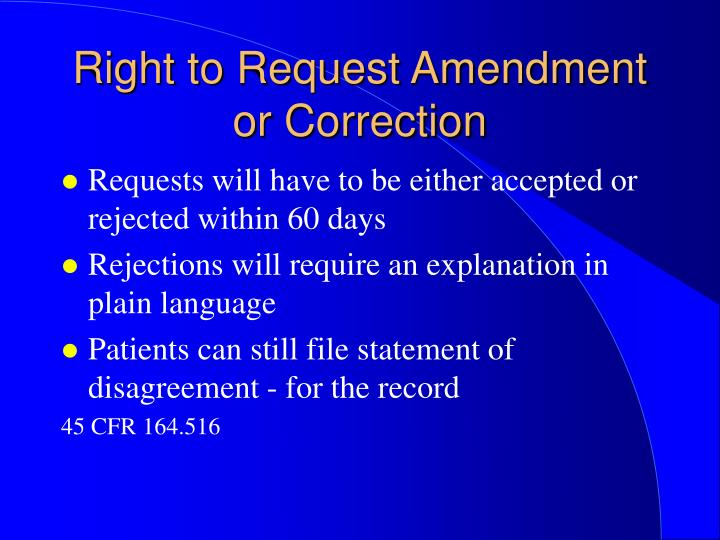 Right to Request Amendment or Correction