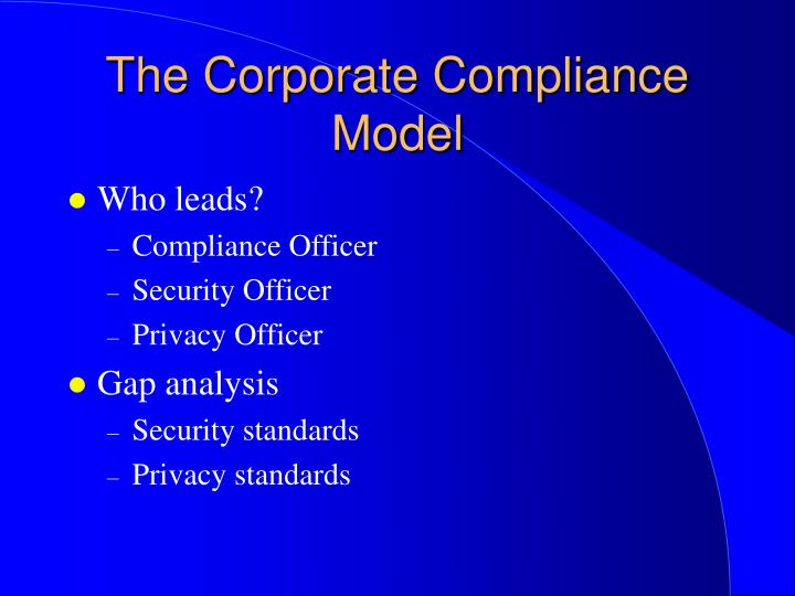 The Corporate Compliance Model